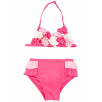 Miki House ruffled floral appliqué bikini - Pink