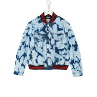 Diesel Kids bleached denim bomber jacket - Blue