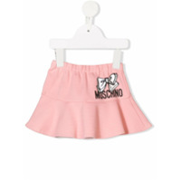 Moschino Kids logo bow print skirt - Pink
