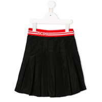 Gcds Kids logo banded pleated mini skirt - Black