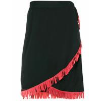 Yves Saint Laurent Vintage high-waist fringed skirt - Black