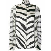 Lanvin Camisa De Seda Animal Print - Preto