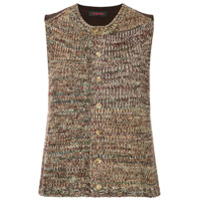 Caban Sleeveless Knit Cardigan - Marrom