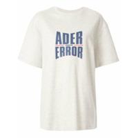 Ader Error Camiseta Oversized Com Estampa De Logo - Cinza