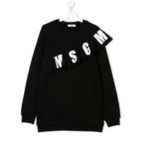Msgm Kids Moletom com logo franzido - Preto