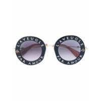 Gucci Eyewear Óculos De Sol 'l'aveugle Par Amour' - Preto