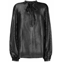 Saint Laurent Camisa Listrada De Seda - Preto