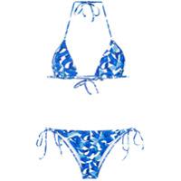 Isolda Biquíni Modelo Cortininha Estampado - Azul