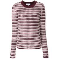 Carven Suéter Listrado Decote Careca - Vermelho