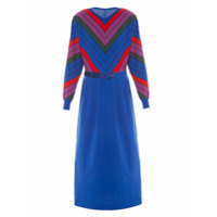 Allmost Vintage Vestido Midi De Tricô Listrado - Multicolorido