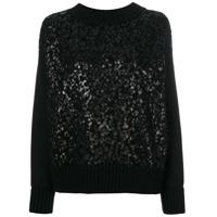 Moncler Suéter Com Efeito Envernizado - Preto