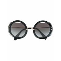 Miu Miu Eyewear Óculos De Sol Arredondado - Preto ... b237ded0f6