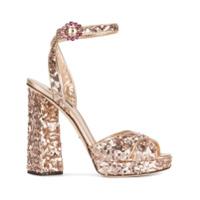 Dolce & Gabbana Sandália Com Paetês - Metálico