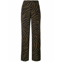 Layeur Calça De Alfaiataria Com Estampa De Zebra - Marrom