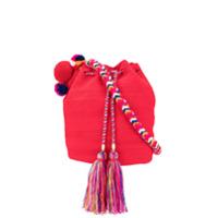 Soraya Hennessy Bolsa Saco Mochila Com Trançado - Vermelho