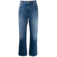 Victoria Victoria Beckham Calça Jeans Cropped Com Bordado - Azul