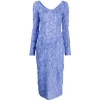 Kenzo Vestido Midi Com Textura - Roxo