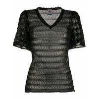 M Missoni Camiseta Translúcida Chevron De Tricô - Preto