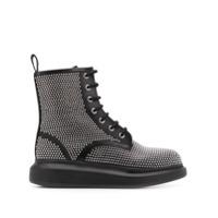 Alexander Mcqueen Ankle Boot Com Tachas E Cadarço - Preto