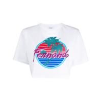 P.a.r.o.s.h. Camiseta Cropped De Algodão Com Estampa Gráfica - Branco