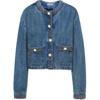 Miu Miu Jaqueta Jeans Cropped Com Aplicação De Esferas Peroladas - Azul