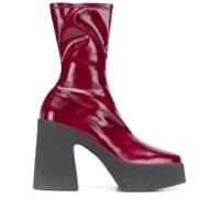 Stella Mccartney Ankle Boot Com Plataforma - Vermelho