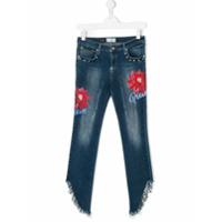 Philipp Plein Junior Calça Jeans 'fringe' - Azul
