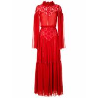 Costarellos Vestido De Festa Em Seda Com Renda - Vermelho