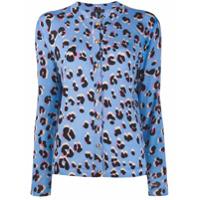 Escada Leopard Print Cardigan - Azul