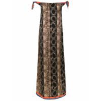 Amir Slama Vestido Longo Estampado De Seda - Marrom