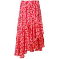 Jovonna Saia Assimétrica Com Estampa Floral - Vermelho