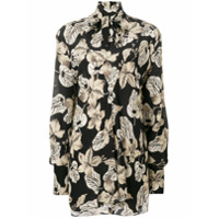 Rokh Camisa Oversized Com Estampa Floral De Seda - Preto