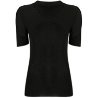 Paco Rabanne Ribbed Short-Sleeved Top - Preto