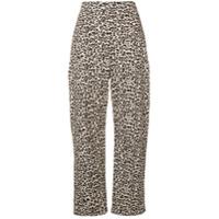 Liu Jo Leopard Print Cropped Trousers - Neutro