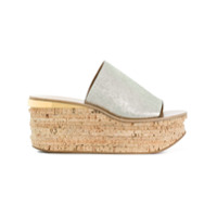 Chloé Sapato Mule De Couro - Metálico