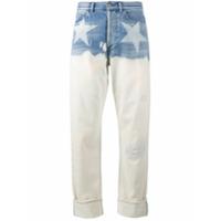 Faith Connexion Calça Jeans Pantalona Com Estampa De Estrela - Azul
