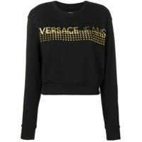 Versace Jeans Blusa Com Logo E Tachas - Preto