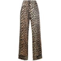 Ganni Calça Pantalona Com Estampa De Leopardo - Preto