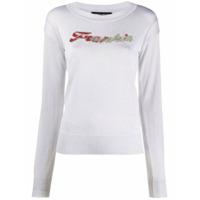 Frankie Morello Camiseta Decote Careca Com Aplicação De Cristais - Cinza