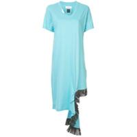Facetasm Vestido Assimétrico Com Franja - Azul