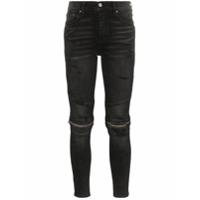 Amiri Calça Jeans Skinny Mx2 Cintura Alta Com Detalhe De Zíper - Preto