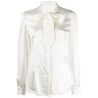 Dolce & Gabbana Camisa De Seda Com Amarração - Branco