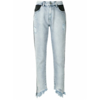 John John Calça Jeans Reta Desfiada - Azul