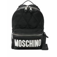 Moschino Mochila Matelassê Com Logo - Preto