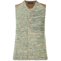 Caban Sleeveless Knit Cardigan - Green