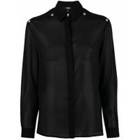 Versus Camisa Translúcida Com Fendas - Preto
