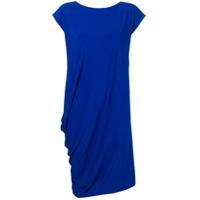 Issey Miyake Vestido Midi Drapeado - Azul