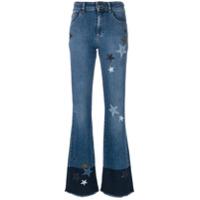 Red Valentino Calça Flare Com Estrelas - Azul