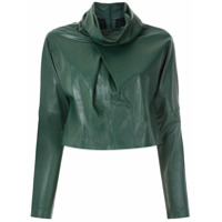Clé Blusa De Couro Gola Ampla - Verde