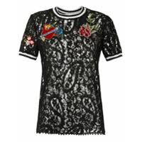 Martha Medeiros Camiseta De Renda Com Patches - Preto